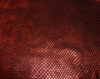 """Leather 12""""x20"""" or 10""""x24"""" or 15""""x15"""" FISH Scales RED on Black Cowhide 2.5-3oz / 1-1.2mm PeggySueAlso"""