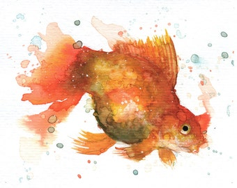 "Golden Fish IV - ORIGINAL Watercolor - 4.5x5.5"" - Fish, UNFRAMED, Painting by Bruno M Carlos"