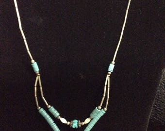 Nice Vintage Turquoise and Sterling Silver Necklace