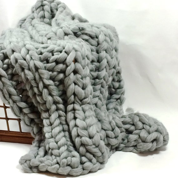 Grey Smoosh Throw Blanket, Super Chunky Blanket, 30x50 Pure Merino Wool, knit blanket, chunky throw,