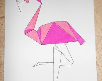 Flamingo Pink Origami way frame