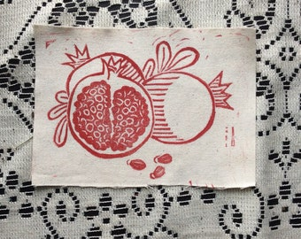 Original Block Print Pomegranate Canvas Sew On Patch