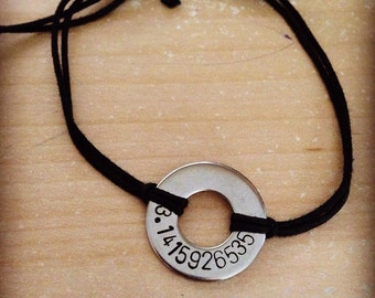 Nerdy stainless steel washer bracelet: Pi 3.1415926535, keyboard shortcuts (Ctrl C, Ctrl V, Ctrl Alt Del, Ctrl Z) custom hand stamped