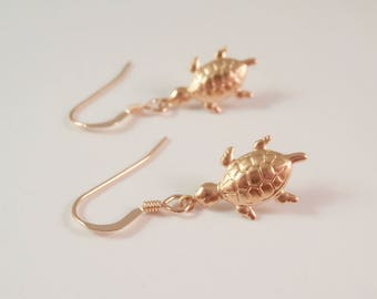 gold turtle earrings, turtle earrings, gold filled turtle earrings, beach earrings, turtle lover gift, gold tortoise earrings, gift for her