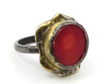 Vintage 925 sterling silver - 2-tone red enamel ring sz 7.5 - r1044