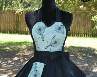 Unicycle Skeletons Retro Apron