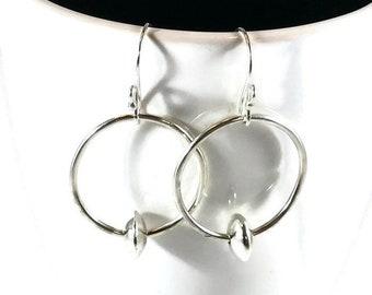 Sterling silver hoop earrings Handmade sterling silver earrings Dangle earrings Drop earrings Designer earrings Handmade earrings