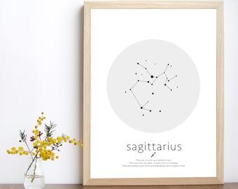 Sagittarius constellation, sagittarius art, sagittarius print, horoscope art, zodiac constellation, astrology print, kids room wall art