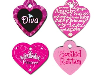 Pink Hearts Cat Collar ID Tags, Engraved