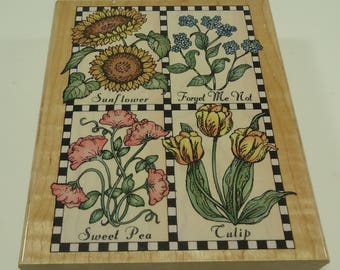 Checkerboard Flowers Wood Mounted Rubber Stamp From Hero Arts, Sunflower, Forget Me Not, Sweet Pea, Tulip, Flowers, Floral, Garden