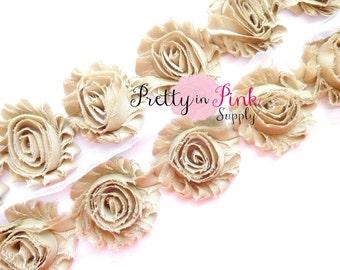 BEIGE Shabby Rose Trim - Shabby Chiffon Rosettes - 1/2 Yard or 1 Yard - Shabby Flower Trim - Wholesale Shabby Flower - Chiffon