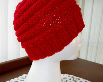 Knitted Child's Grow Hat - Red Acrylic Yarn
