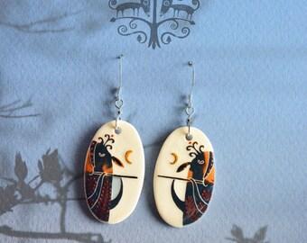 Woodsy song, dangle earrings, woodland earrings, animal jewelry, ceramic earrings