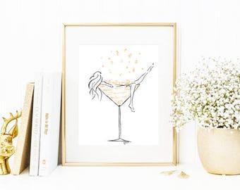 Bubbles • Fashion Illustration | Glicée Art Print | Wall Art | Fashion Art