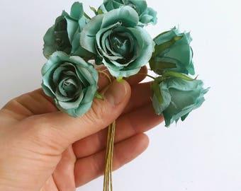6 Rose Head mini Bouquet, Artificial Fabric Roses, Seafoam rose head set, 3.5 cm cm / 1.4'' diameter, Artificial flowers, Roses