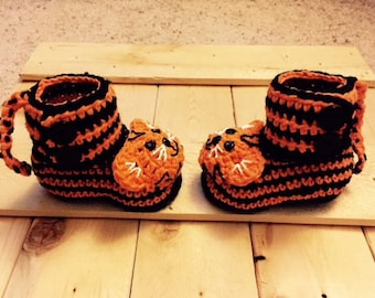 Tiger Baby Booties/ Orange and Black Baby Booties