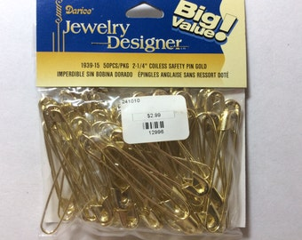 2 1/4 Coilless  Safety Pins Gold