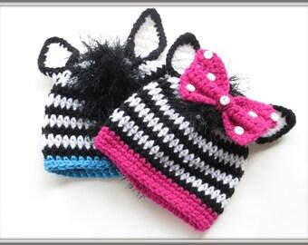 CROCHET PATTERN, Zebra Beanie Crochet Pattern, Animal Hat Pattern, Crochet Baby Hat Pattern, Zebra Hat Pattern