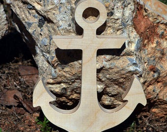 large Anchor - Wood Anchor DIY unfinished sanded and ready for paint- Wood Sign- Beach Anchor 18 to 24 inch Size -