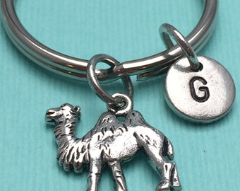 Camel keychain, animal keychain, safari keychain, personalized keychain, initial keychain, camel charm