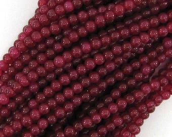 """3mm ruby red jade round beads 15"""" strand 11374"""