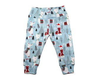 Christmas Llama Leggings - Christmas Leggings - Boys Leggings - Girls Leggings- Baby Leggings - Toddler Leggings - Baby Pants - Outfit