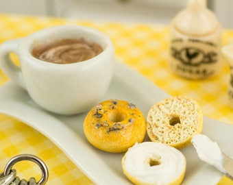 Miniature Cappuccino and Bagels with Cream Cheese Breakfast Combo - 1:12 Dollhouse Miniature