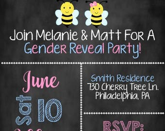What Will Baby Bee Invite, Baby Bee Gender Reveal Invitation