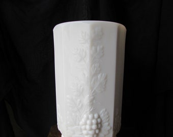 Westmoreland Milk Glass Grapevine Design Vase. Collectible Milk Glass Footed Vase for Home or Wedding Table Decoration