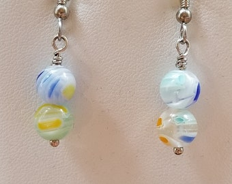 Multicolored Millefiori  earrings Surgical steel earwires  Blues Aqua Yellow Orange Bracelets available separately  Summer Jewelry  80me4