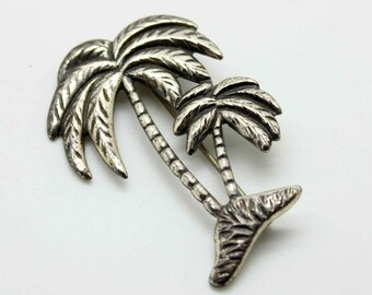 Cutest STERLING Silver Palm Trees Pin Brooch - Tree Vintage Estate Jewelry - Tropical