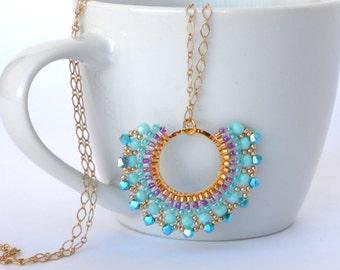 Swarovski necklace, Swarovski pendant, Turquoise pendant necklace, Swarovski turquoise necklace, Long turquoise necklace