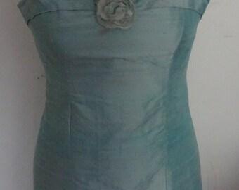 strapless dress with chiffon frill