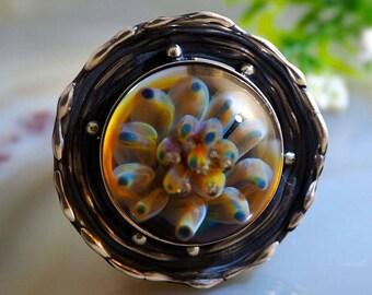 Lampwork Ring Fairy Chrysanthemum Artisan Boro Lampwork Statement Ring Sterling Silver Jewelry