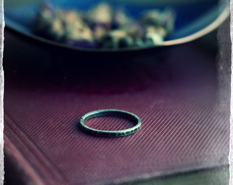 Single skinny stacking ring, sterling silver band, hammered and oxidised, simple ring band, rustic industrial look.