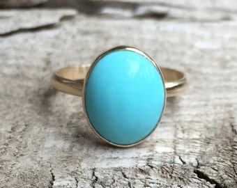 Elegant Minimalist Boho Robin Egg Blue Oval Turquoise Gold Ring in 14 Karat Gold