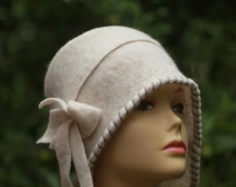 WHITE Retro Kentucky Derby Hat Garden Party Hat Tea Party Hat Church Hat Wedding hat for woman fashion hat Felted Hat Cloche hat handmade