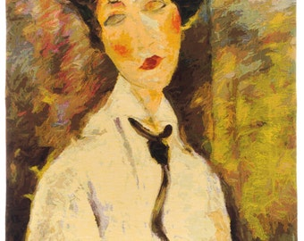 belgian wall tapestry hanging wall decor gobelin Woman with a black Tie by Modigliani gobelin tapestry jacquard woven
