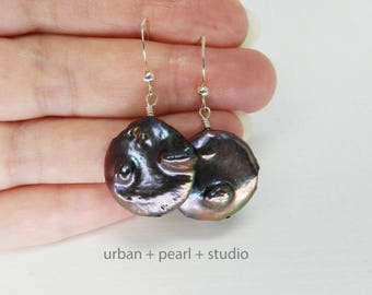 Black Pearl Earrings Large Pearl Dangles Coin Pearl Earrings Bridal Jewelry BCP22
