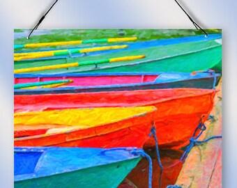Boat Dock Watercolor Window Sun Catcher from Redeye Laserworks