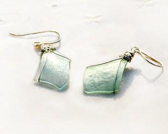 Roman Glass Silver Earrings Roman Glass Jewelry Thin Ancient Roman Glass Earrings Silver Jewelry Handmade Israeli Jewelry Free Shipping