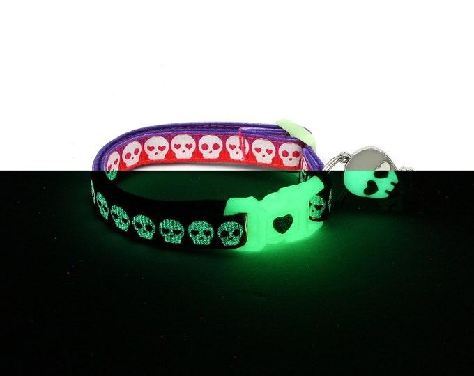 Skull Cat Collar - Glowing Skulls on Purple and Orange- Small Cat / Kitten or Large Cat Collar - Glow in the Dark