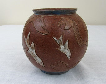 "Mid-Century 6.5"" inscribed pottery vase - signed modern bulbous vase - 1970s"