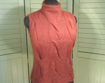 Sleeveless Pullover Mohair Blend Sweater Top Unique Cable Knit Front Mock Turtleneck Pumpkin Rust Orange Earth Colors Women's Size Small