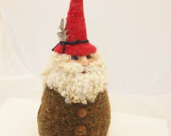 Gnome, Needle Felted Gnome, Garden Gnome, Felted Gnome, Forest Gnome # 2762