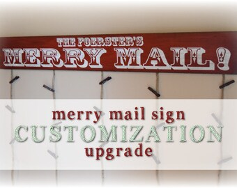 Customization Upgrade - Custom Christmas Card Sign - Custom Greeting Card Hanger - Personalized Christmas Decor - Personalization - Custom
