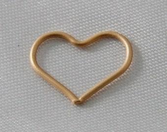 6 pcs - 15mm Heart Link Connectors Matte Gold