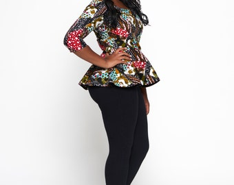 Multicoloured Woodin Ankara African Print Peplum Blouse