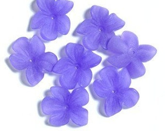50pcs--Acrylic Beads, Frosted, Flower, Violet (B50-8)