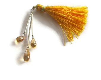 Three Citrine Beads, Trio of Golden Elongated Natural Gemstones, Three (3) Teardrop Briolettes, November Birthstone, Jewelry Supplies